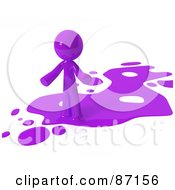 Royalty Free RF Clipart Illustration Of A 3d Purple Man Standing On A Purple Liquid Spill