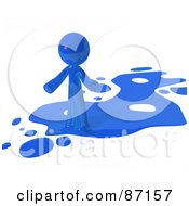Royalty Free RF Clipart Illustration Of A 3d Blue Man Standing On A Blue Liquid Spill
