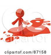 Royalty Free RF Clipart Illustration Of A 3d Red Man Standing On A Red Liquid Spill by Leo Blanchette