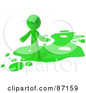 Royalty Free RF Clipart Illustration Of A 3d Green Man Standing On A Green Liquid Spill