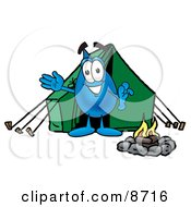 Clipart Picture Of A Water Drop Mascot Cartoon Character Camping With A Tent And Fire