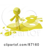 Royalty Free RF Clipart Illustration Of A 3d Yellow Man Standing On A Yellow Liquid Spill