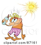 Royalty Free RF Clipart Illustration Of A Man Squirting Sunblock On Top Of His Bald Head And Standing Under The Blazing Sun