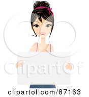 Royalty Free RF Clipart Illustration Of A Pretty Brunette Caucasian Woman Holding A Blank Sign Board by Melisende Vector