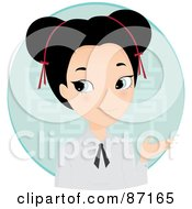 Royalty Free RF Clipart Illustration Of A Pretty Asian Girl Gesturing With Her Hand by Melisende Vector