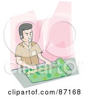 Royalty Free RF Clipart Illustration Of A Man Measuring Cloth With A Ruler