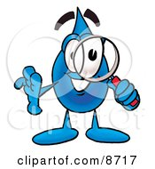 Clipart Picture Of A Water Drop Mascot Cartoon Character Looking Through A Magnifying Glass