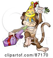 Royalty Free RF Clipart Illustration Of A Birthday Monkey With A Noise Maker Flowers And A Gift