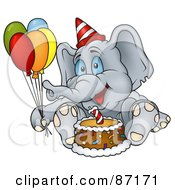 Royalty Free RF Clipart Illustration Of A Birthday Elephant Sitting By A Cake And Holding Balloons by dero