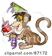 Royalty Free RF Clipart Illustration Of A Birthday Monkey Holding A Cake by dero