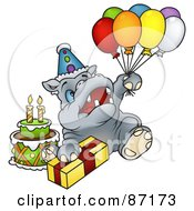 Royalty Free RF Clipart Illustration Of A Birthday Hippo Holding Balloons And Sitting With A Present And Cake by dero