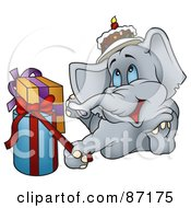 Royalty Free RF Clipart Illustration Of A Happy Birthday Elephant Laying By Presents by dero