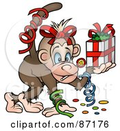 Royalty Free RF Clipart Illustration Of A Birthday Monkey With Confetti And A Gift by dero