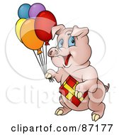 Royalty Free RF Clipart Illustration Of A Birthday Pig Carrying Balloons And A Present
