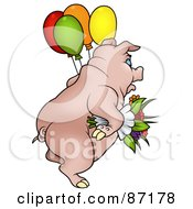 Royalty Free RF Clipart Illustration Of A Pig Carrying Balloons And Flowers