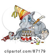 Royalty Free RF Clipart Illustration Of A Birthday Hippo Sitting By A Cake And Using A Noise Maker by dero
