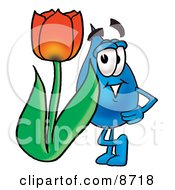 Water Drop Mascot Cartoon Character With A Red Tulip Flower In The Spring