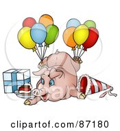 Royalty Free RF Clipart Illustration Of A Birthday Pig With Balloons A Present And Slice Of Cake by dero