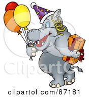 Royalty Free RF Clipart Illustration Of A Birthday Hippo Carrying A Gift And Balloons by dero
