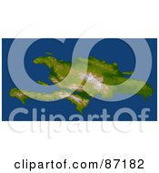 Royalty Free RF Clipart Illustration Of A 3d View Of The The Enriquillo Fault And Haiti Hispaniola by JVPD