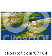 Royalty Free RF Clipart Illustration Of A 3d View Of Haiti Hispaniola With Port Au Prince And The Enriquillo Fault Line