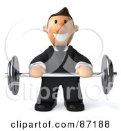 3d Business Toon Guy Lifting A Barbell