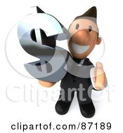 Royalty Free RF Clipart Illustration Of A 3d Business Toon Guy Holding A Dollar Symbol