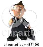 3d Business Toon Guy Facing Front And Using A Magnifying Glass
