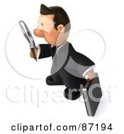 3d Business Toon Guy Facing Left And Using A Magnifying Glass