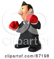 3d Business Toon Guy Wearing Boxing Gloves And Facing Left