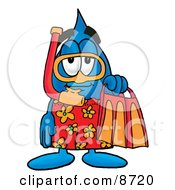 Clipart Picture Of A Water Drop Mascot Cartoon Character In Orange And Red Snorkel Gear