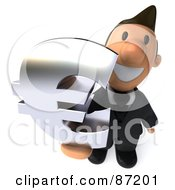 3d Business Toon Guy Holding A Euro Symbol