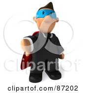 3d Business Toon Guy Super Hero Holding His Thumb Down