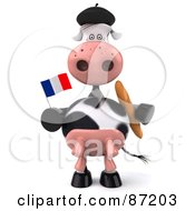 Royalty Free RF Clipart Illustration Of A 3d Horton The Cow Holding A France Flag And Bread Version 1 by Julos