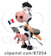 Royalty Free RF Clipart Illustration Of A 3d Horton The Cow Holding A France Flag And Bread Version 2 by Julos
