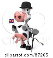 Royalty Free RF Clipart Illustration Of A 3d Horton The Cow With An Umbrella And Union Jack Flag Version 2