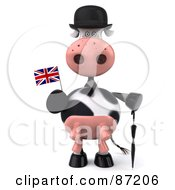 3d Horton The Cow With An Umbrella And Union Jack Flag Version 1