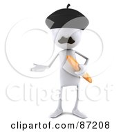 Royalty Free RF Clipart Illustration Of A 3d French White Bob Character With A Loaf Of Bread