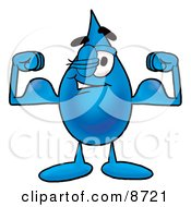 Clipart Picture Of A Water Drop Mascot Cartoon Character Flexing His Arm Muscles