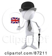 Royalty Free RF Clipart Illustration Of A 3d White Bob Character With An Umbrella And Union Jack Flag