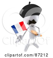 Royalty Free RF Clipart Illustration Of A 3d French White Bob Character With Bread And A Flag