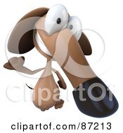3d Brown Pookie Wiener Dog Character Leaping - Version 1