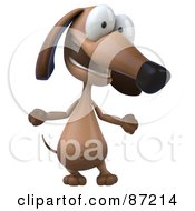 Royalty Free RF Clipart Illustration Of A 3d Brown Pookie Wiener Dog Character Talking by Julos
