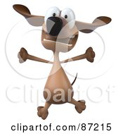 Royalty Free RF Clipart Illustration Of A 3d Brown Pookie Wiener Dog Character Leaping Version 2
