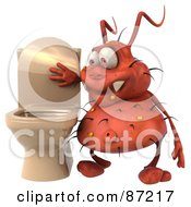 Royalty Free RF Clipart Illustration Of A 3d Rodney Germ Character By A Toilet