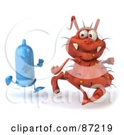 Royalty Free RF Clipart Illustration Of A 3d Rodney Germ Character Running From A Condom
