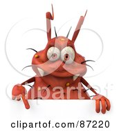 Royalty Free RF Clipart Illustration Of A 3d Rodney Germ Character Pointing Down At A Blank Sign