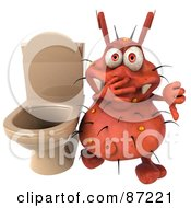 Royalty Free RF Clipart Illustration Of A 3d Rodney Germ Character By A Stinky Toilet by Julos