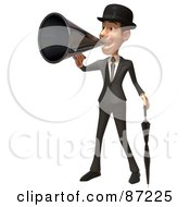 Royalty Free RF Clipart Illustration Of A 3d White Corporate Businessman Character Using A Megaphone Version 1