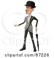 3d English Businessman With An Umbrella - Version 1
